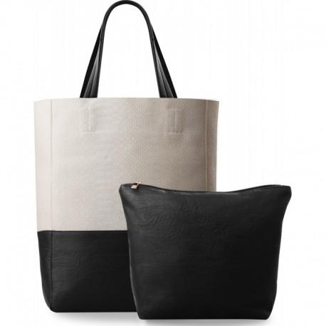 Duża kremowo-czarna torebka shopper bag 2w1 matowa skórka węża