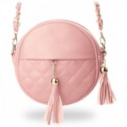 Okrągła mała torebka pikowana chanelka - pudrowo-różowa