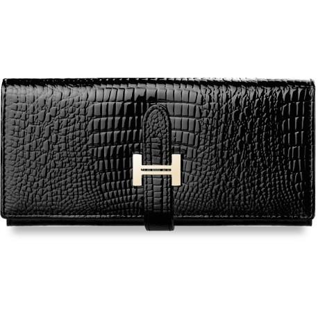 Elegancki portfel damski lakierowany poziomy - czarny