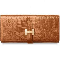 Elegancki portfel damski lakierowany poziomy - miedziany
