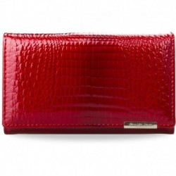 Elegancki lakierowany damski portfel - czerwony