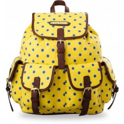 Modny plecak szkolny a4 vintage groszki - żółty