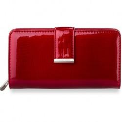 Duży damski portfel jennifer jones lakierowany - czerwony