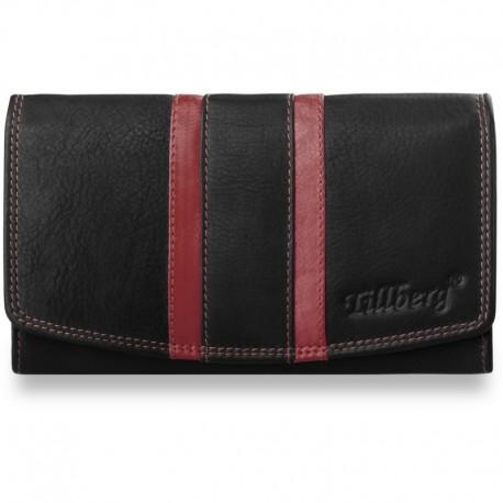 Duży damski portfel z paseczkami skóra naturalna - czerwony