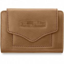 Skórzana portmonetka portfel damski money maker - beżowy