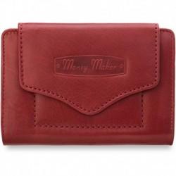 Skórzana portmonetka portfel damski money maker - czerwony