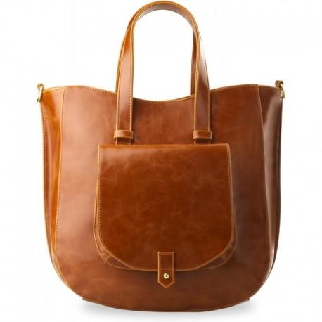 Elegancka duża torebka z kieszonką - wysoka jakość - camel