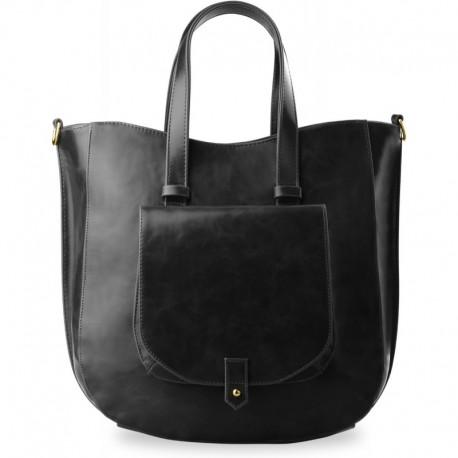 Elegancka duża torebka z kieszonką - czarna