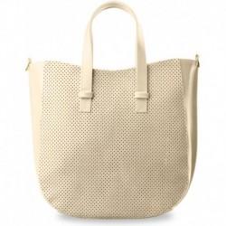 Modna duża torebka shopper bag dziurkowany przód - kremowa