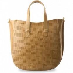 Modna duża torebka shopper bag dziurkowany przód - beżowa