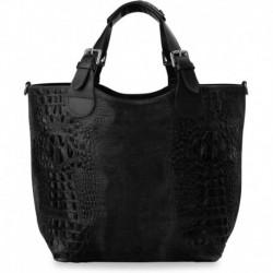 Niepowtarzalna torebka shopper bag - skóra krokodyla - czarna