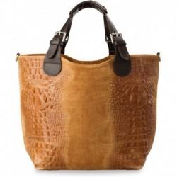 Niepowtarzalna torebka shopper bag - skóra krokodyla - brązowa