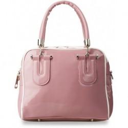 Modna lakierowana torebka kuferek - różowa