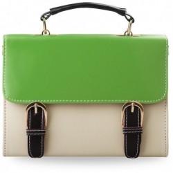 Kremowy kuferek listonoszka z zieloną klapką