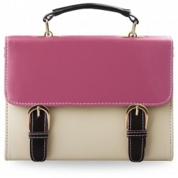 Kremowy kuferek listonoszka z różową klapką