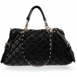 Pikowana lakierowana torebka z ćwiekami - czarna