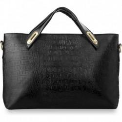 Elegancka damska torebka, wężowe tłoczenia - czarna