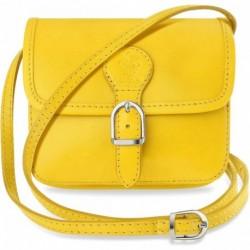 Elegancka modna włoska listonoszka - 100% skóra - żółty